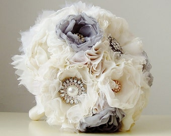 Fabric Wedding Bouquet, Wedding, Brooch Bouquet, Handmade Bridal Bouquet,  Vintage Wedding  Bouquet, Gray, Off White