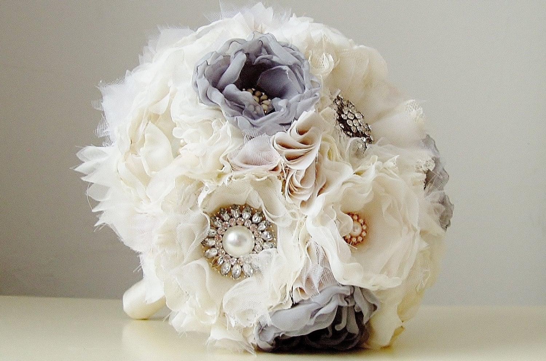 Fabric wedding bouquet wedding brooch bouquet handmade for Wedding bouquets