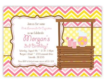 Pink Lemonade Invitation - Pink Chevron and Yellow Polka Dots, Lemon Lemonade Personalized Birthday Party Invite - a Digital Printable File