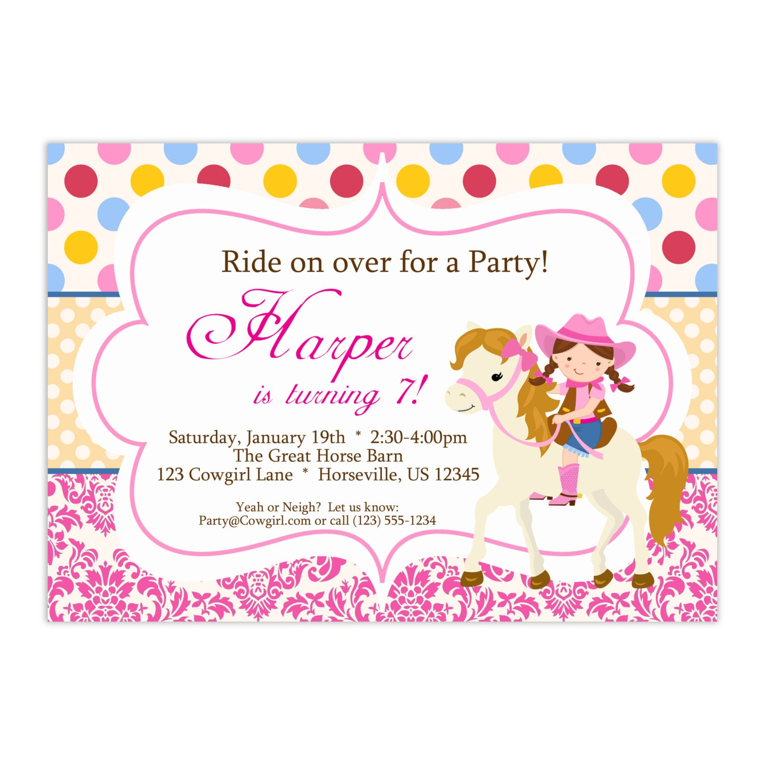 Cowgirl Invitation Pink Red Polka Dots and Damask Girl