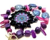 Decoupage Mandala Pendant Necklace, Natural Stone Jewelry, Mandala Statement Necklace,OOAK Beaded Jewelry