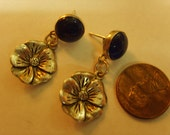 Lapis and Sterling Flower Charm Earrings -- CamRose Alta
