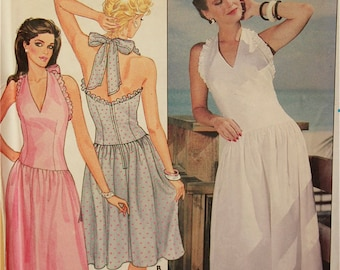 "Halter Dress- Butterick Pattern 4970 Uncut   Sizes 6-8-10  Bust 30 1/2 -32 1/2"""