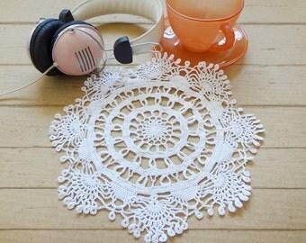 Crochet Doily 9 Inch, Small Doily, White Doily, Japanese Crochet Lace Doily, Crochet Decor, White Home Decor, Crochet Table Topper