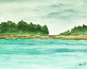 Coastal Painting Original Small ACEO Watercolor Richmond Island Kettle Cove Maine Artist Trading Card Pen and Ink Drawing Kathleen Daughan