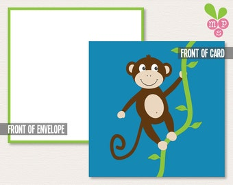 INSTANT DOWNLOAD- Mini Gift Notecard- Hangin' Monkey- Small Gift Enclosure- Buy 4, Get 1 FREE