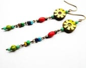 Beaded Dangle Earrings with Colorful Beads, Long Earrings, Lime Green, Multicolored, Beadwork, Bright Jewelry