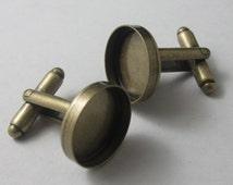 240 pcs  16mm cufflink blank bezel back  Antique brass plated  link for Angèle Rose