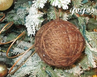 BROWN YARN Ball ORNIES Set of 8 Winter Home Décor Ornaments