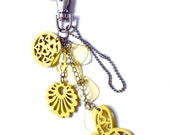 Yellow Wood Charms Keychain / Zipper Pull / Bag Charm, Handmade Jewelry by Dreambuzzer on Etsy