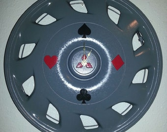 """UpCycled Mitsubishi Hubcap Clock 15.5"""" Diameter Finished With Playing Card Suits."""