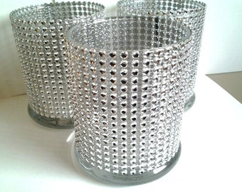Glass Cylinder Vases - Wedding Anniversary Centerpiece Decor - Bling Wedding Table Decor - 25th Party Decorations - Bling  Candle Holders