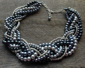 HOLIDAY SALE Silver Grey Pearl Necklace Braided Cluster on Silver Chain