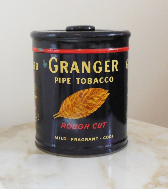 Granger Tobacco Tin Pipe Humidor Tin With Top Red Navy