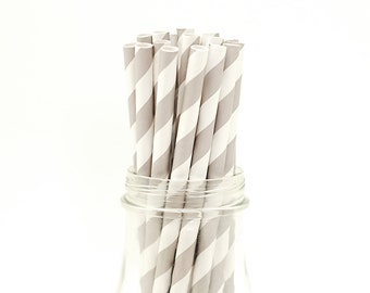 25 Gray Paper Straws Grey Striped Retro Vintage Style Carnival Circus Wedding Birthday Bridal Baby Shower W/ Printable Flags Ready to ship
