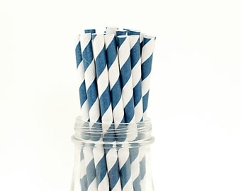 25 Navy Blue Paper Straws Striped Retro Vintage Style Carnival Circus Wedding Birthday Bridal Baby Shower W/ Printable Flags Ready to Ship