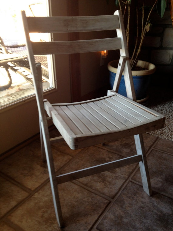 Vintage Wooden Folding Chair Nautical Farmhouse Patio White
