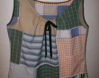 upcycled patchwork peasant style tank top with a pocket