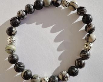 Mens bracelet, Lava and Silk Stone bracelet, unisex, gemstone, stretchy bracelet, yoga jewelry, grey black, marble effect, strength, power