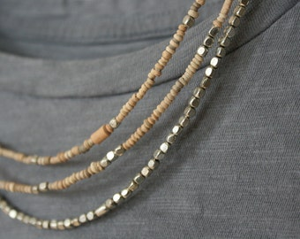 Mali clay bead necklace //