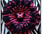 Minnie Mouse Hot Pink/ Black Zebra Print Flower Hair Clip