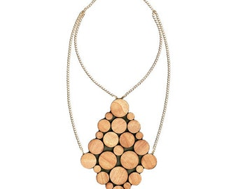 wooden circles dia collar double chain necklace