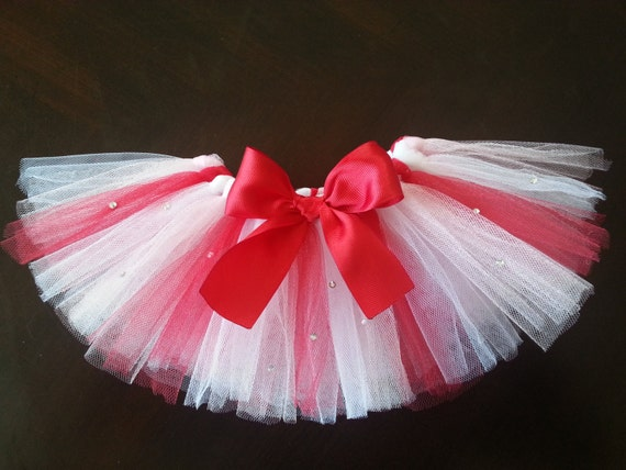 Dog Cat Pet Valentine's Day Pink, Red and White Tutu with Rinestones