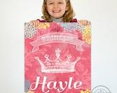 Princess Art, Girls Room Decor, Personalized Wall Art, Princess Crown, Baby Nursery Decor for any girls room.