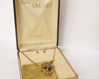 Vintage Smart Black Diamonite Necklace and Earrings