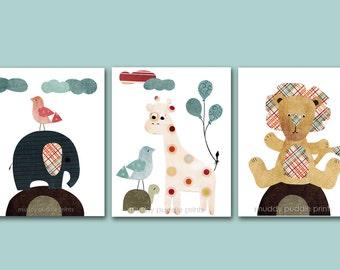 Nursery Art, Nursery decor, kids art print, Baby Nursery print, Kids room wall art - Elephant, Giraffe and Lion