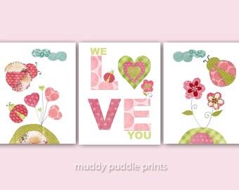 Nursery art, print, Ladybug Nursery decor, children artwork, Baby Nursery, Kids room wall art - We love you ladybugs