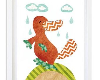 Nursery art, Nursery decor, kids art print, Australian Animal , Kids room wall art - Cute little Platypus