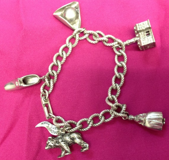 Collectible Sterling Silver Bracelet from Colonial Williamsburg and Smokey the Bear Solid Charms