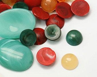 1/2 OZ Multicolor Imitation Gemstone Resin Cabochons Mix