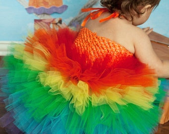 Rainbow Tutu Dress, Rainbow Tutu, Rainbow Birthday Dress, Pageant Outfit of Choice, Carnival Tutu Dress, Clown Costume, Birthday Tutu