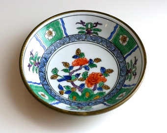 Vintage Asian Cloisonne Bowl or Dish, Floral with Bird, Vivid Colors, Chinoiserie