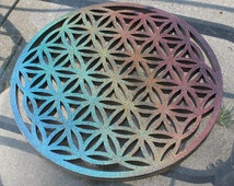 """10"""" Full Bloom Flower Of Life Wall Art, Epoxy cast with Hologramic paint."""