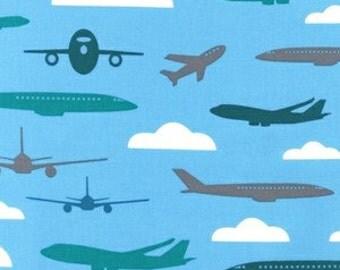 SALE! 1/4m Boy Toys Airplanes Blue - Robert Kaufman