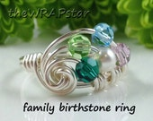 Personalized Family Jewelry Personalized Mothers Ring Family Ring Wire Wrapped Jewelry Handmade Birthstone Jewelry Birthstone Ring ITEM0351