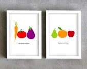 Fruits and vegetables art prints, kitchen print set, carrot, tomato, eggplant, apple, orange, pear, veggies art, home wall art