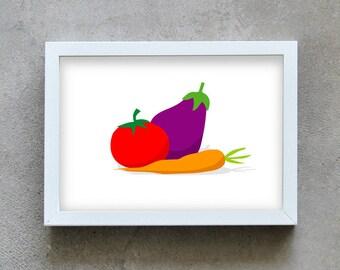 kitchen wall art, Food art print, healthy vegetables, kitchen art, tomato, carrot, eggplant, home decoration poster, kitchen wall deco
