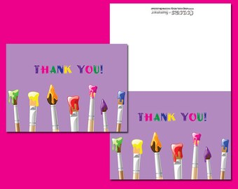 Purple Paint Party Thank You Notes, 20 custom notecards and envelopes
