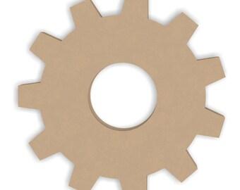 6 Inch Wood Gear Craft Cutout Shape