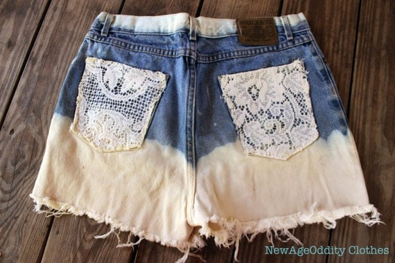 High Waisted Bleached Boyfriend Lace Shorts (2020)