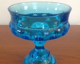 Vintage Blue Carnival Glass Compote King's Crown Thumbprint
