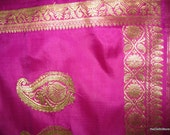 Vintage Magenta Pure silk sari with Brocade - Indian Dress