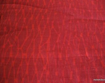 Batik Print Cotton Silk Blend Fabric - Chanderi Silk - by Yard