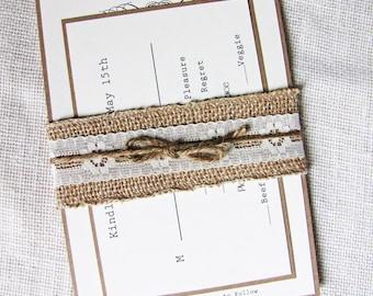 Burlap Wedding Invitation, Lace Wedding Invitation, Rustic Burlap Lace Wedding Invitation