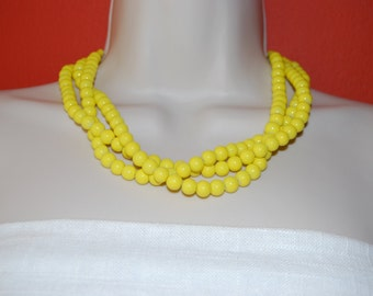 Yellow Statement Necklace Chunky Yellow Beaded Necklace Bold Multi-Strand Bridal Jewelry Bridesmaids Necklace Weddings
