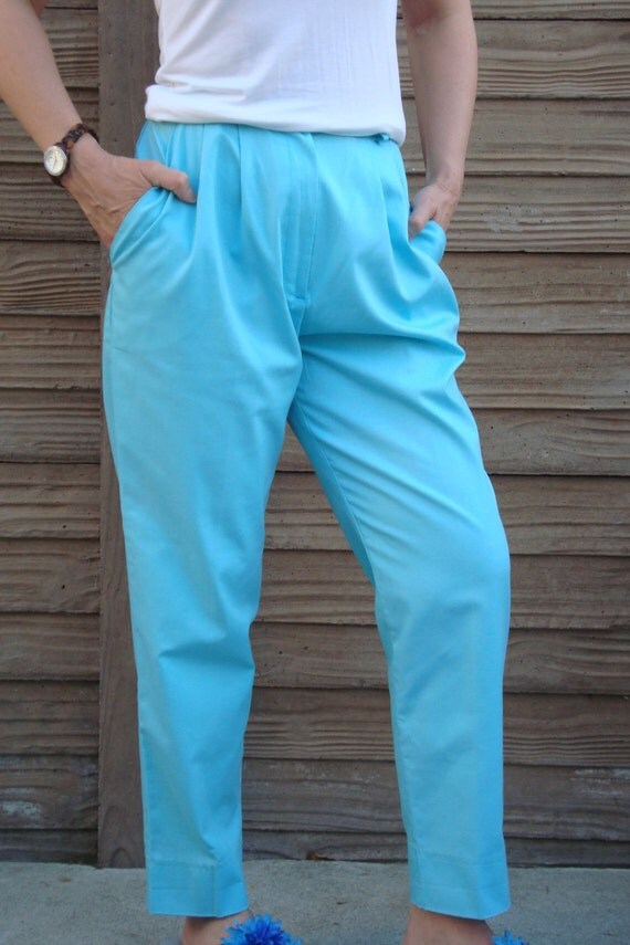 Blue Pants// 1980's Summer Pants// Blue Twill Pants// Blue Beach Party Pants